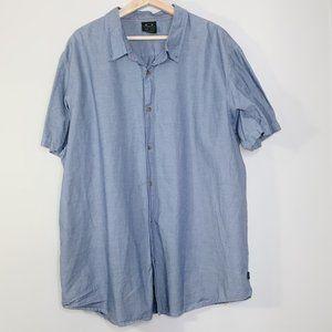 Oakley Blue Chambray Button Down Short Sleeve -XXL